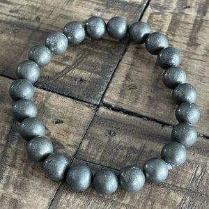 8mm Pyrite Stretch Bead Bracelet